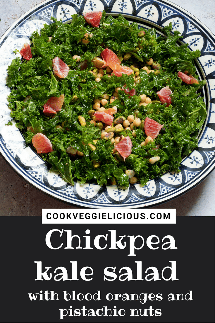 A delicious recipe for chickpea kale salad with blood oranges and pistachio nuts. A great vegan lunch option.