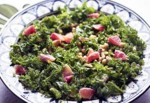 chickpea kale blood orange salad in bowl
