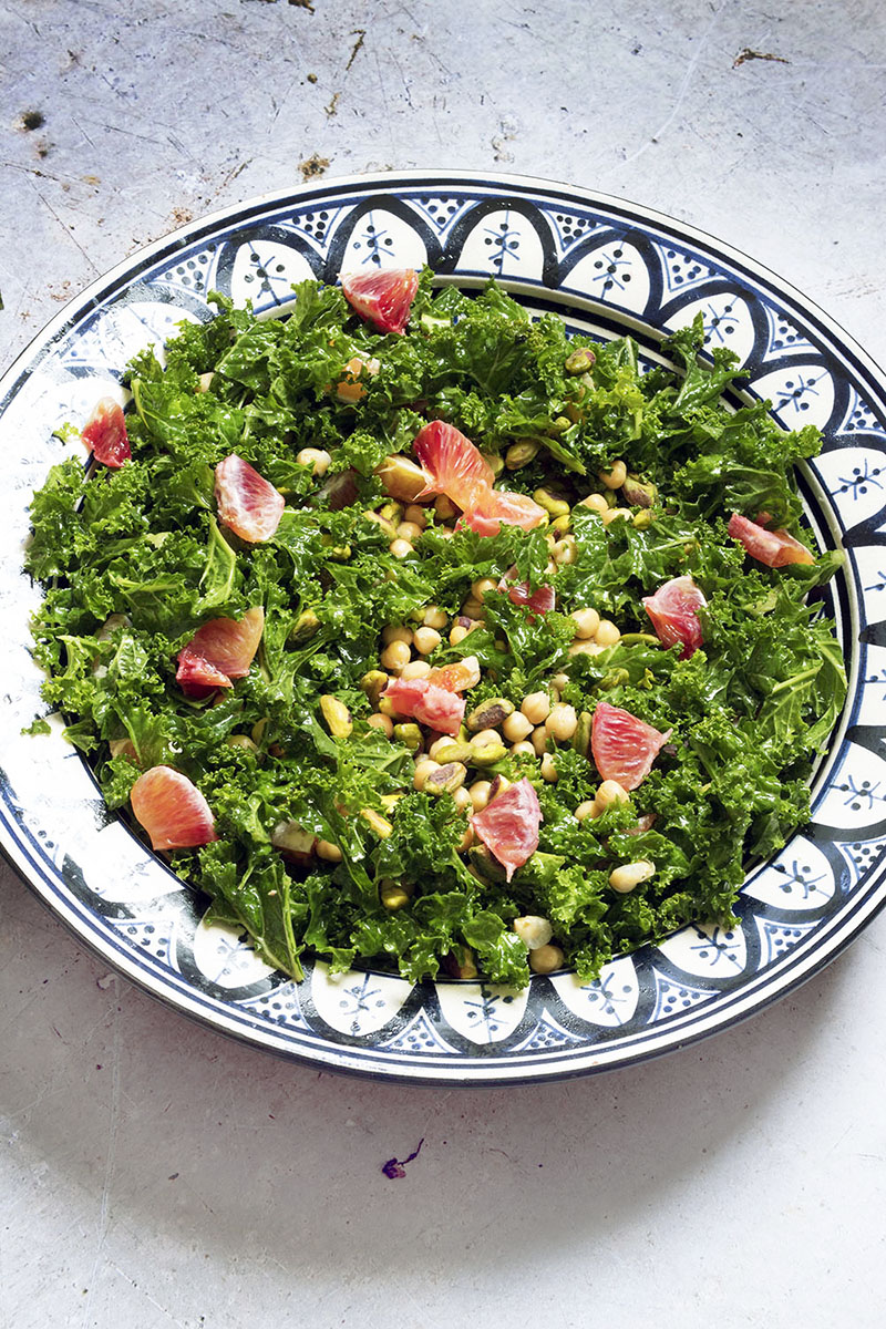 chickpea kale blood orange salad in bowl