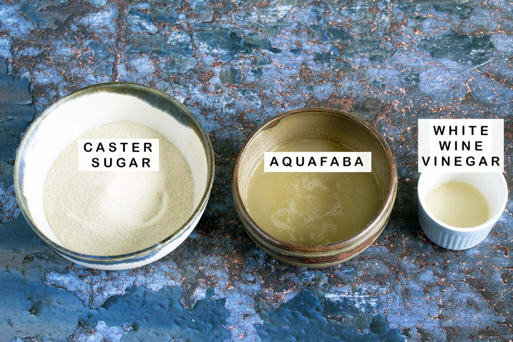 ingredients for aquafaba meringue