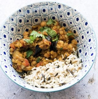 red lentil dhal with aubergines and chickpeas