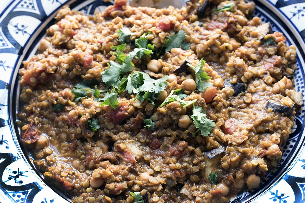 red lentil dhal with aubergine and chickpeas