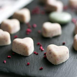 vegan white chocolate hearts with coconut and strawberries