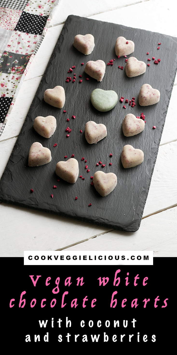 vegan white chocolate recipe - hearts with coconut and strawberries