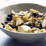 warm celeriac salad with chestnuts and blueberries
