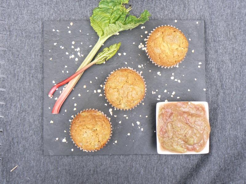 Vegan rhubarb muffins by The Peachicks Bakery