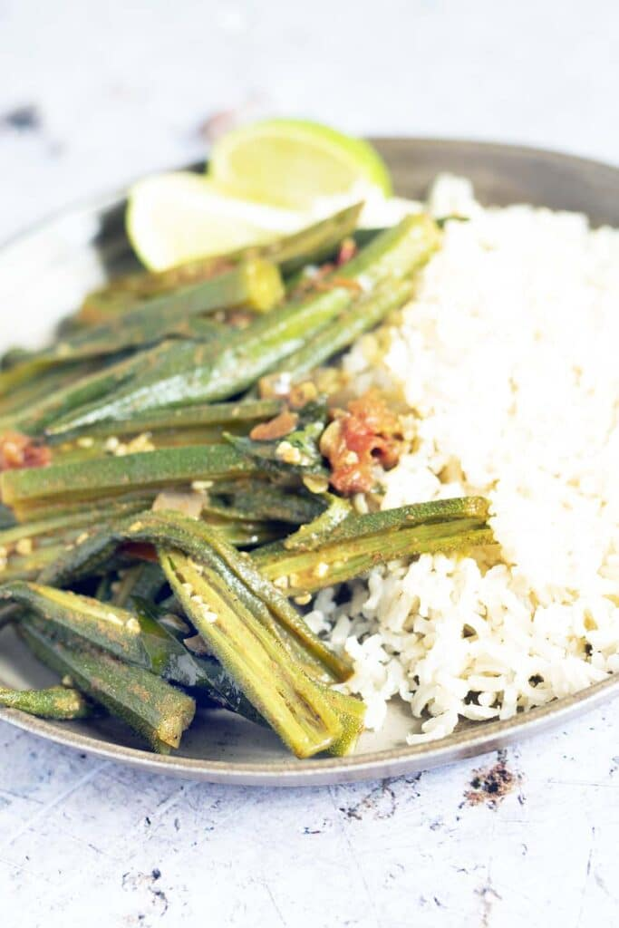 okra curry and rice