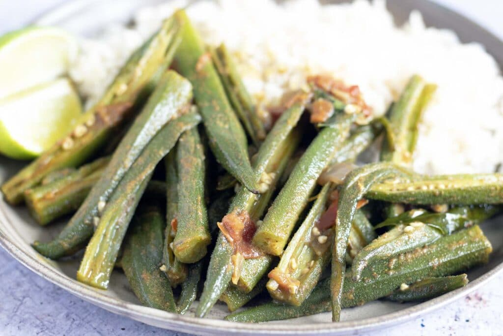 okra curry and rice on plate