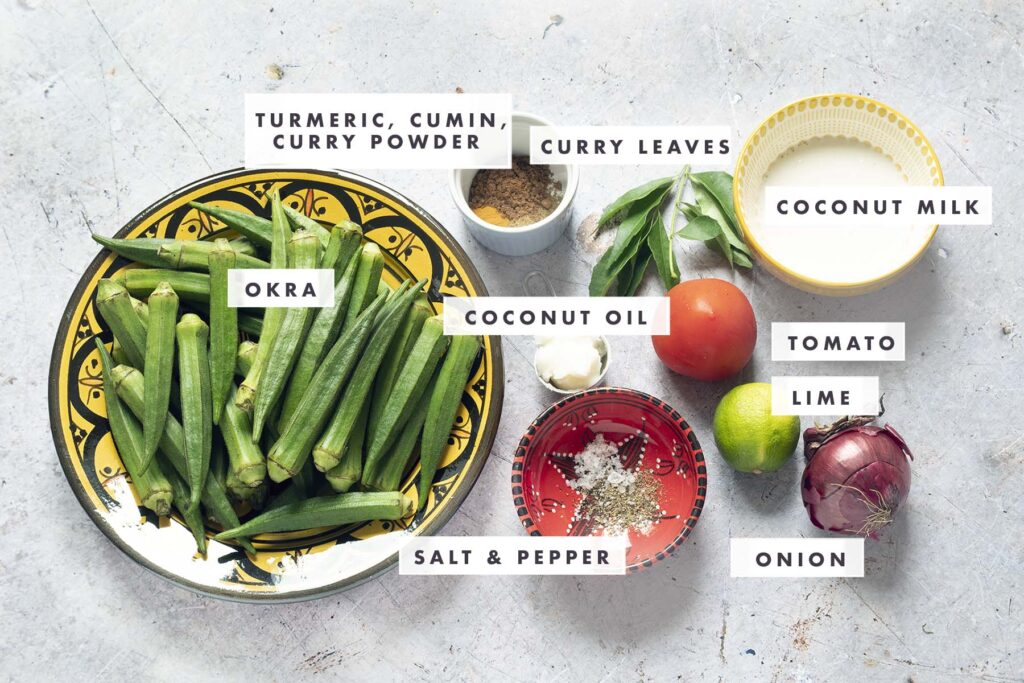 ingredients for okra curry