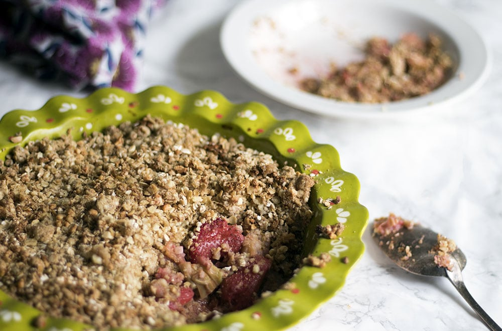 Strawberry and rhubarb crumble by Sneaky Veg