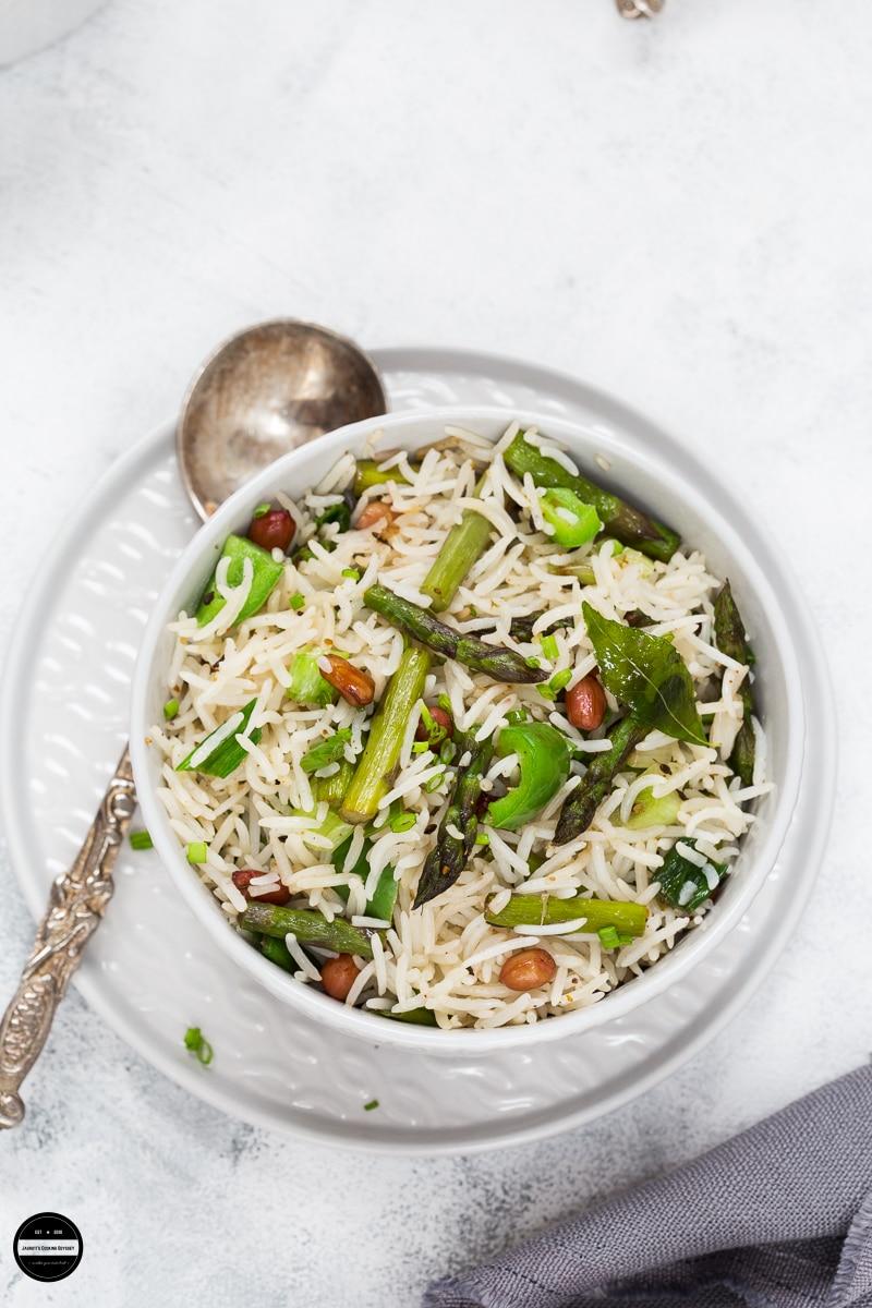 asparagus peanut rice - vegan asparagus recipes