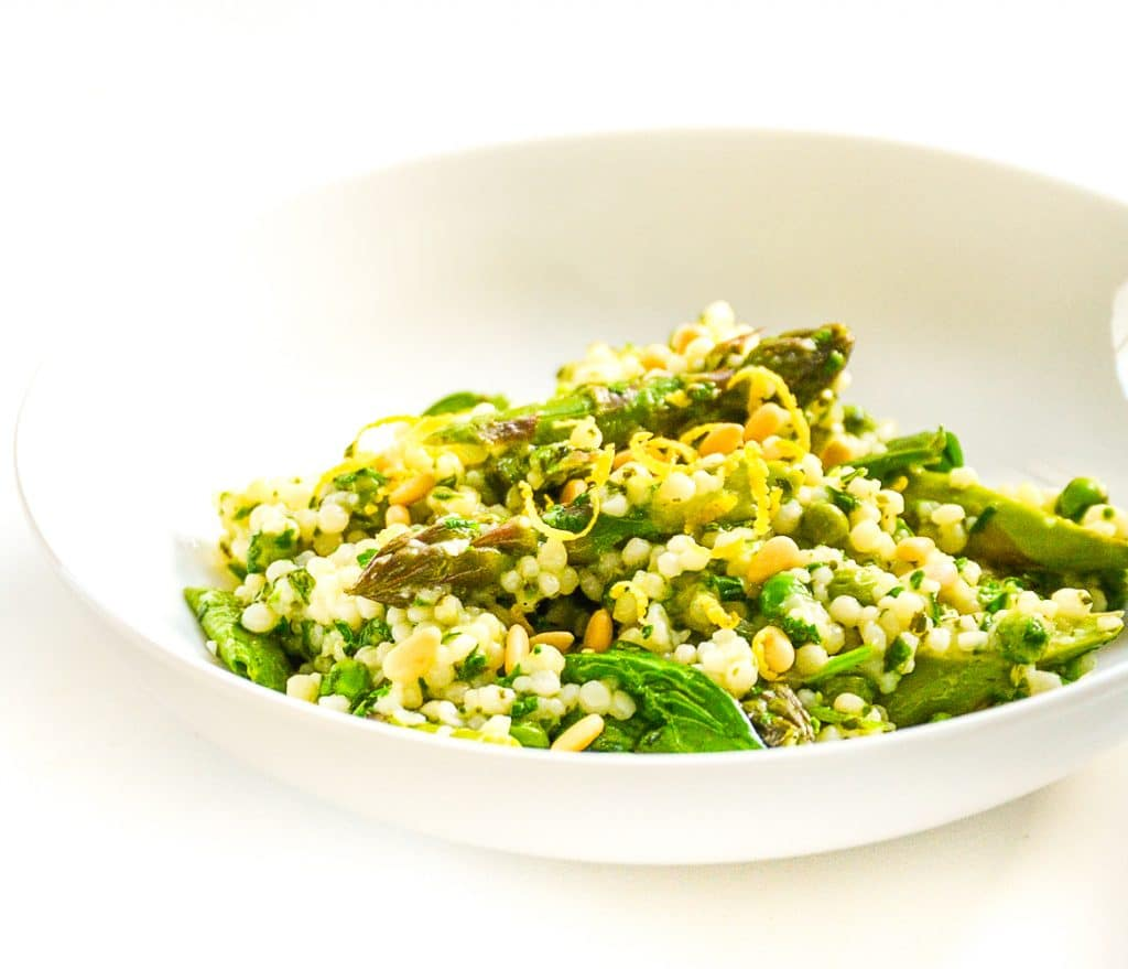 Herby giant cous cous - vegan asparagus recipes