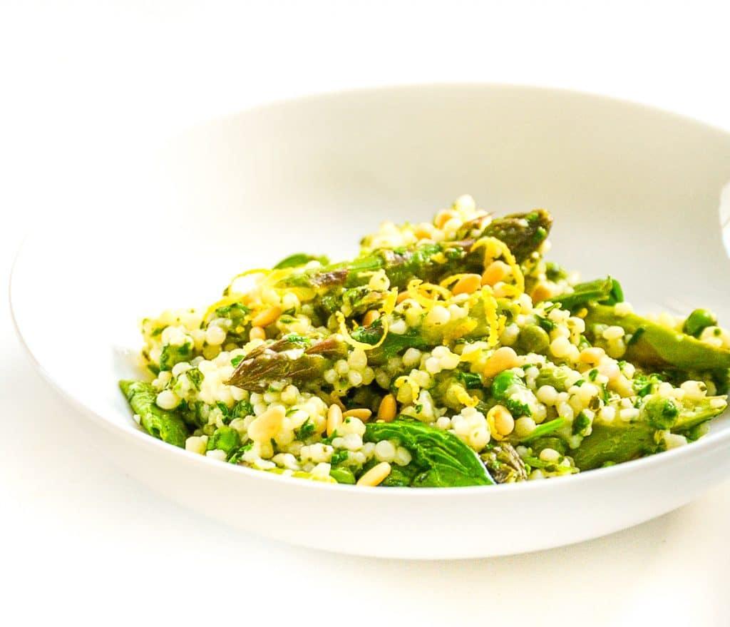 Herby giant cous cous - vegan asparagus recipes