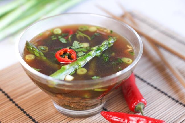 kale and asparagus asian broth - vegan asparagus recipes