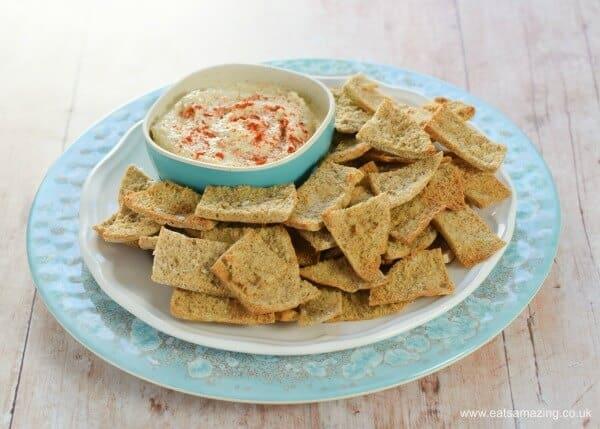 homemade pitta crisps by Eats Amazing - vegan picnic recipes