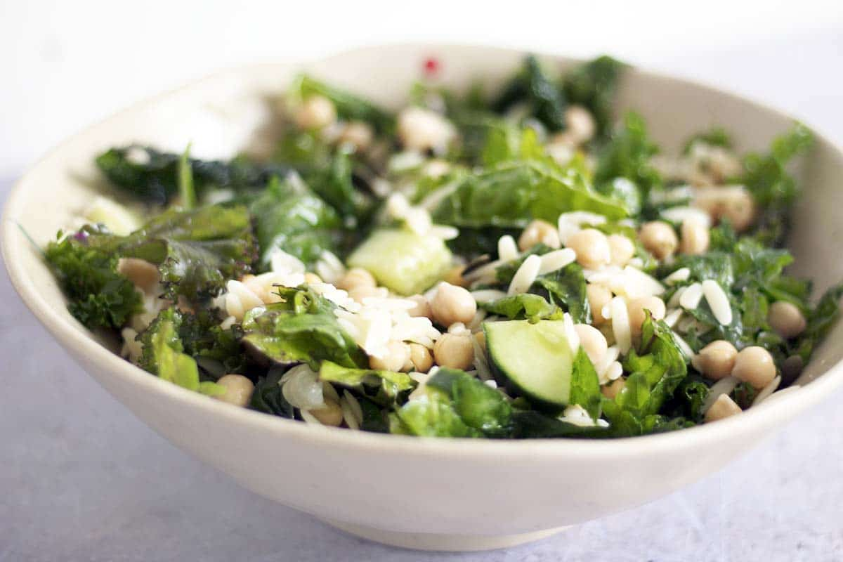 kale chickpea orzo pasta salad