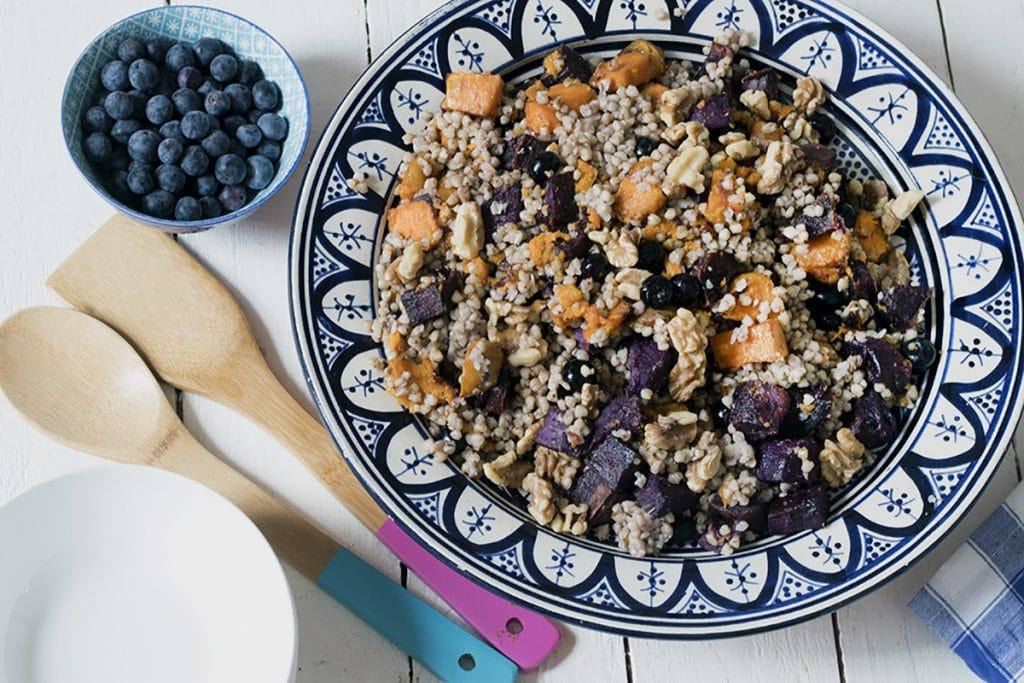 sweet potato, blueberry, walnut, buckwheat salad - vegan picnics