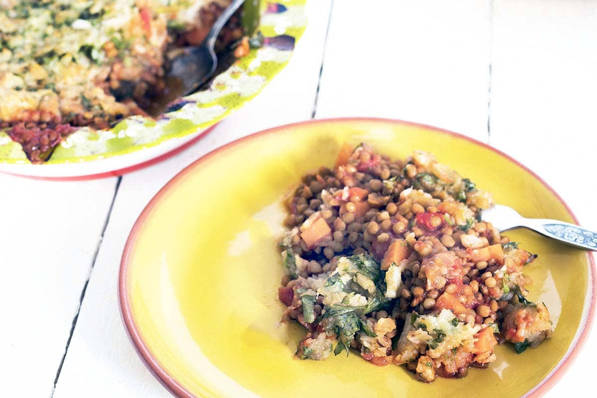 lentil shepherds pie with herby celeriac mash