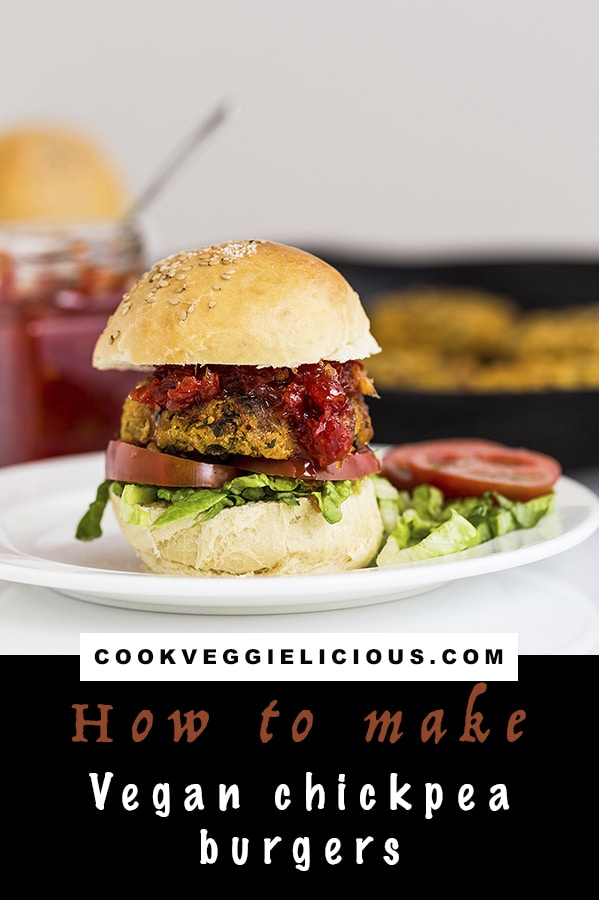 vegan chickpea burgers - recipe by Cookery School on Cook Veggielicious