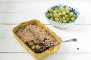 vegan gooseberry crumble by Cook Veggielicious
