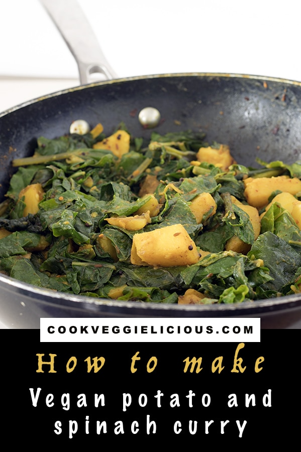 vegan potato and spinach curry recipe by Cook Veggielicious