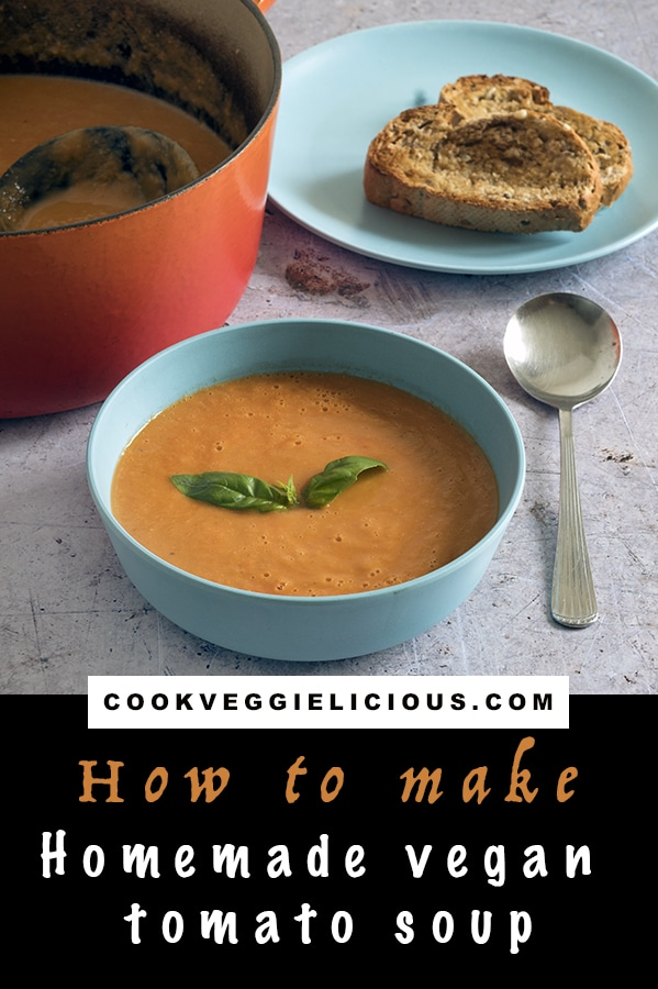 homemade vegan tomato soup with basil