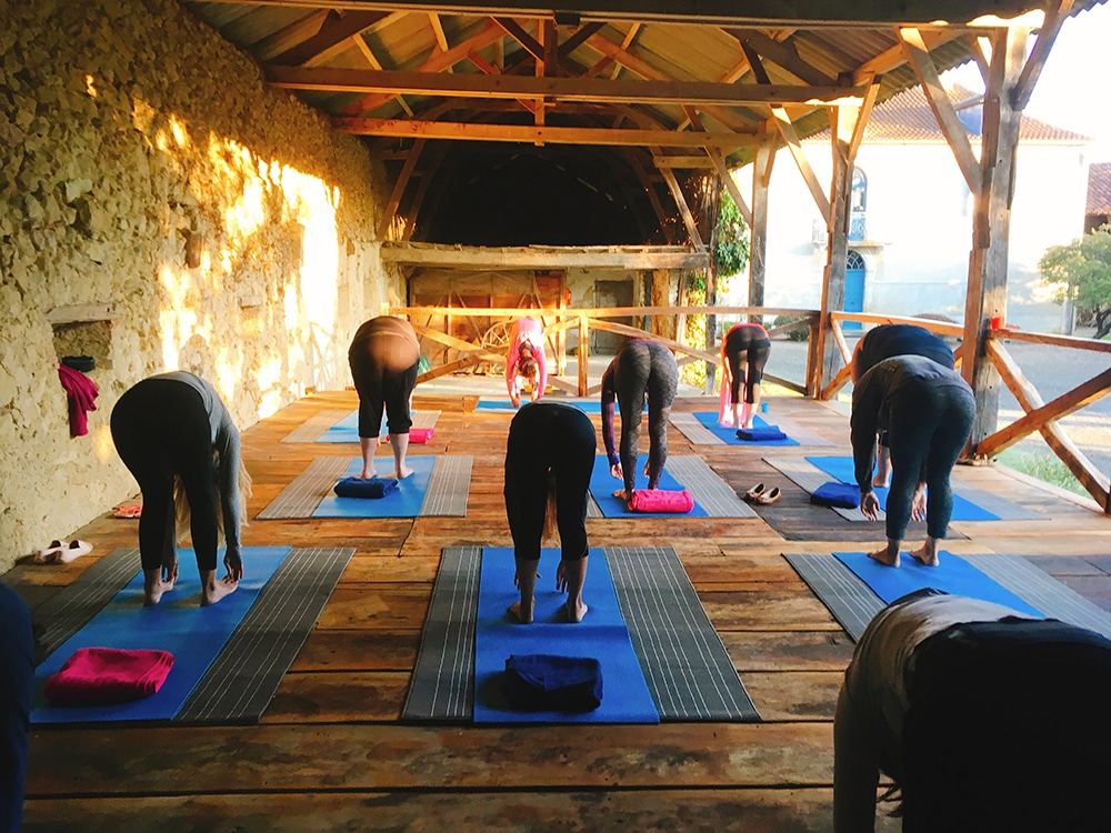 Pilates retreat in France - early morning class at Domaine du Pignoulet