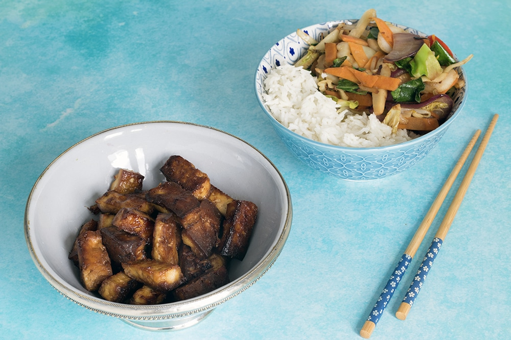 vegan baked marinated tofu with ginger and maple syrup