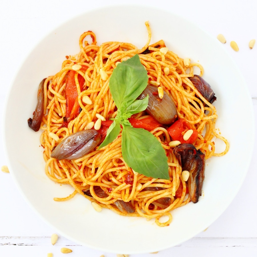 easy vegan pasta recipes - harissa pasta with roasted vegetables by Searching for Spice