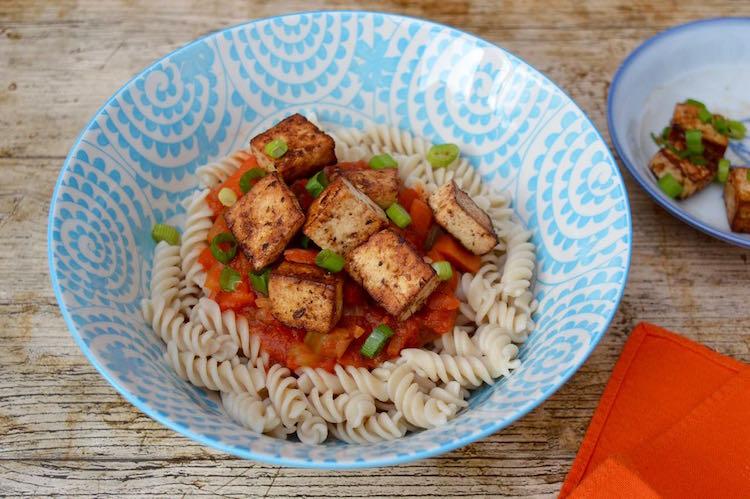 easy vegan pasta recipes - miso marinated tofu pasta by Tin and Thyme