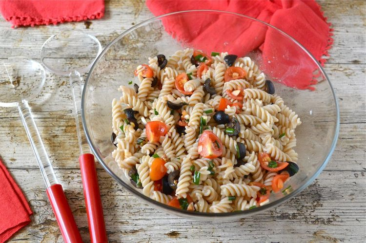easy vegan pasta recipes - Sicilian pasta salad by Tin and Thyme
