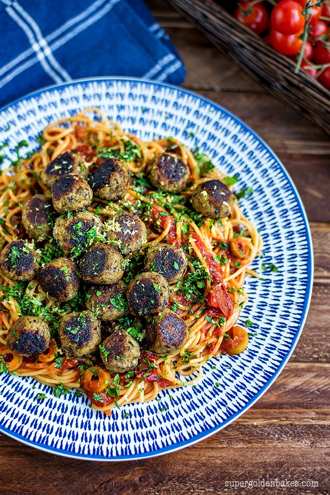 easy vegan pasta recipes - vegan meatballs aubergine by Super Golden Bakes