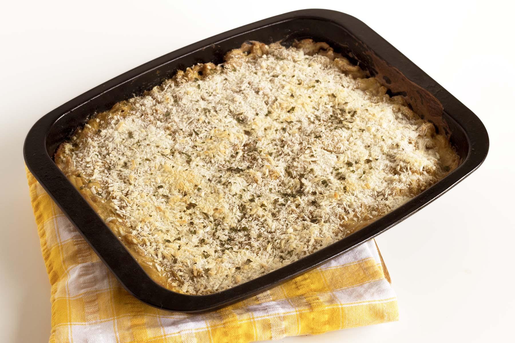 vegan butternut squash macaroni cheese in baking dish