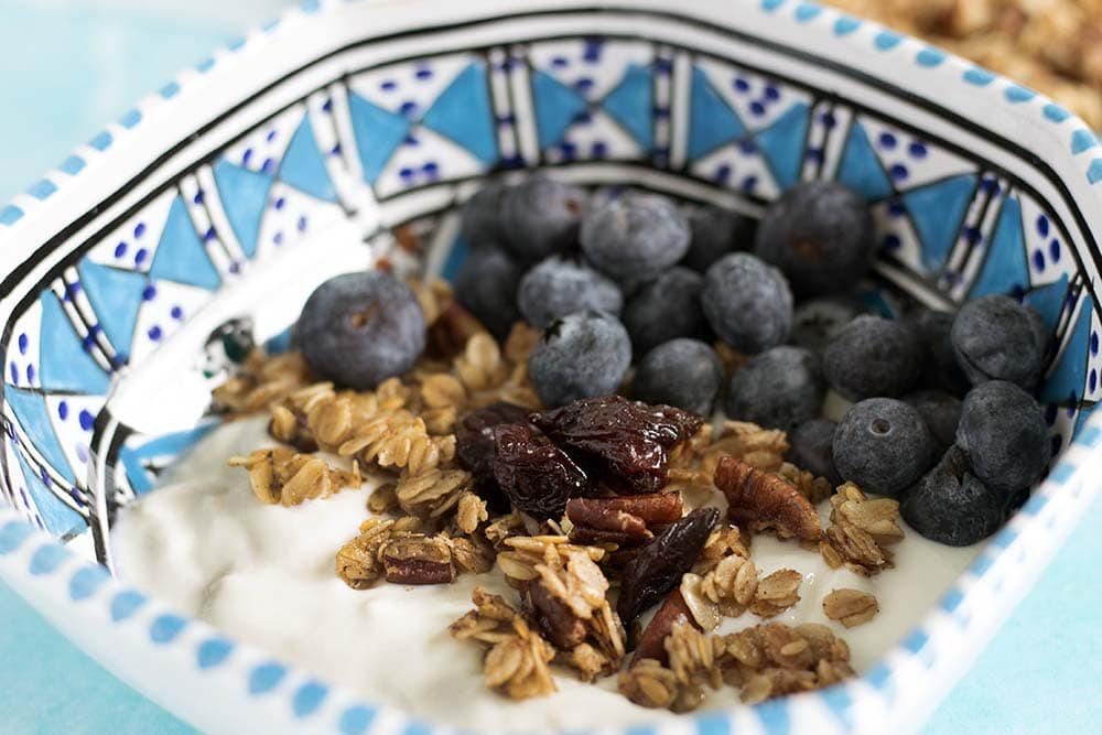 vegan granola recipe with cherries and pecan nuts