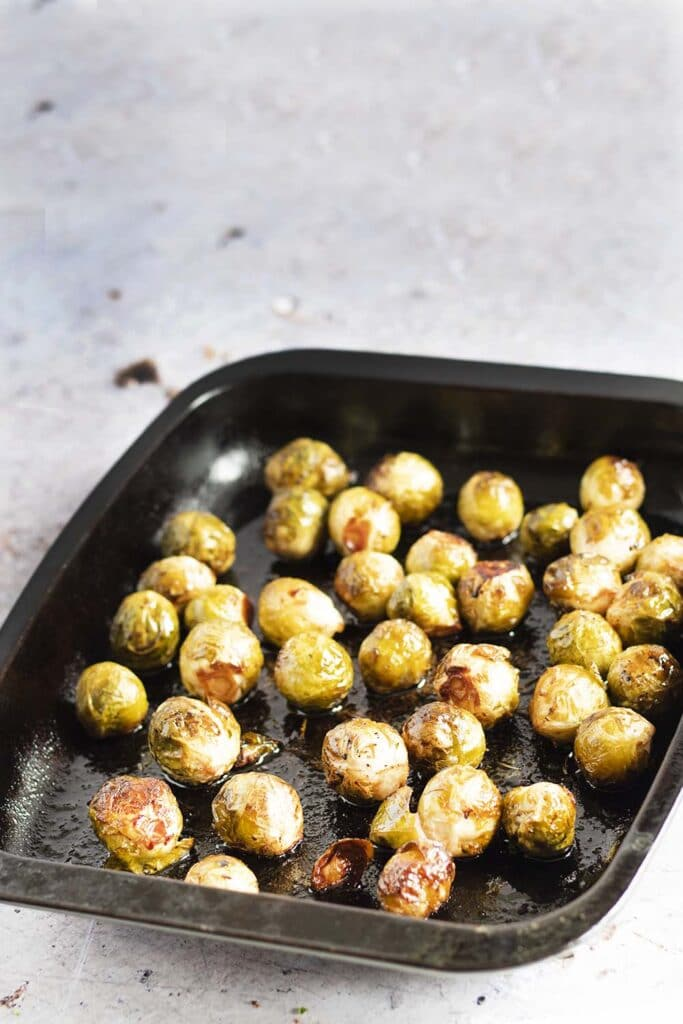 roasted brussels sprouts in baking dish