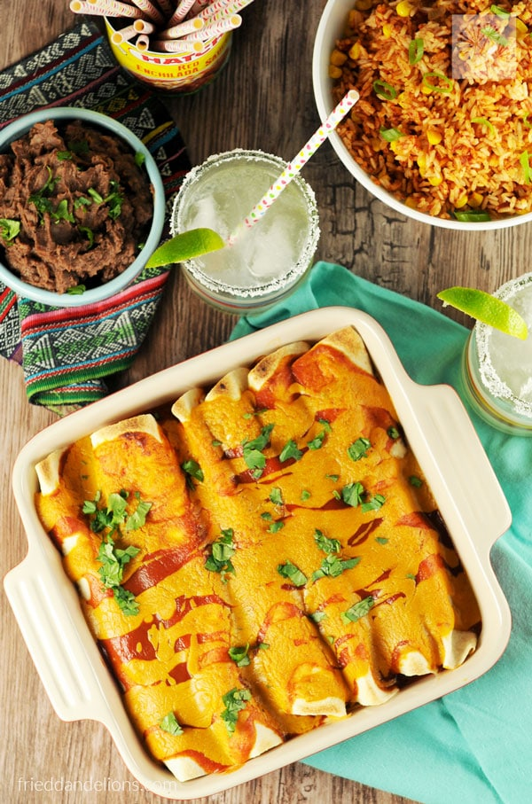 Jackfruit carnitas enchiladas by Fried Dandelions