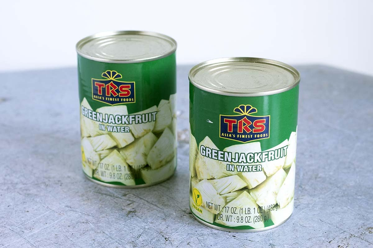tins of green jackfruit - cook veggielicious