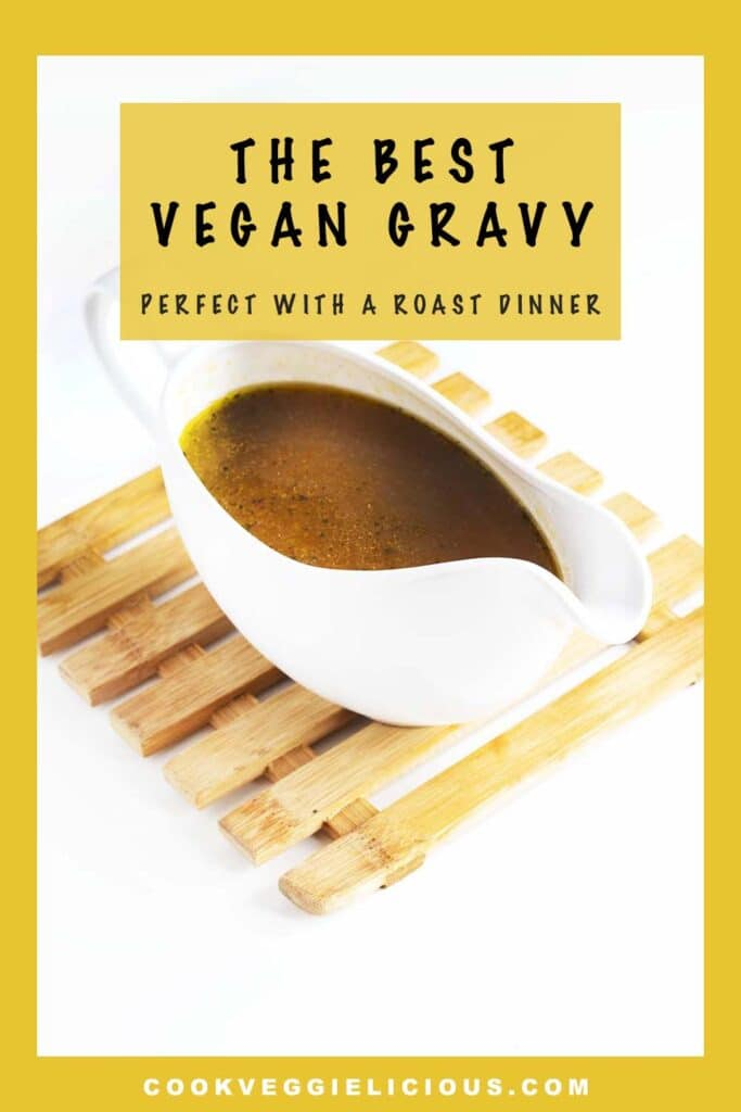 vegan gravy in white gravy boat on mat