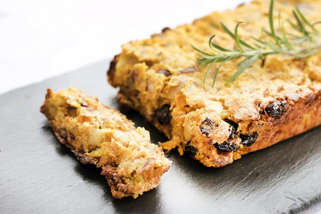 vegan nut roast on black slate plate