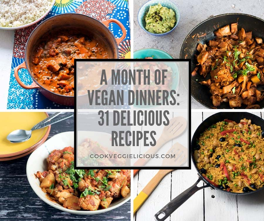 31 vegan dinner recipes. Round up by Cook Veggielicious.