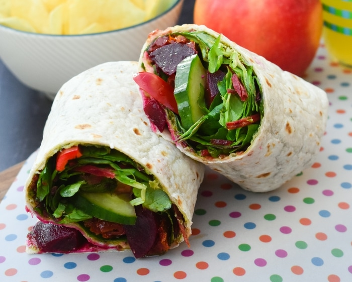 Beet salad lunch wrap by Tinned Tomatoes