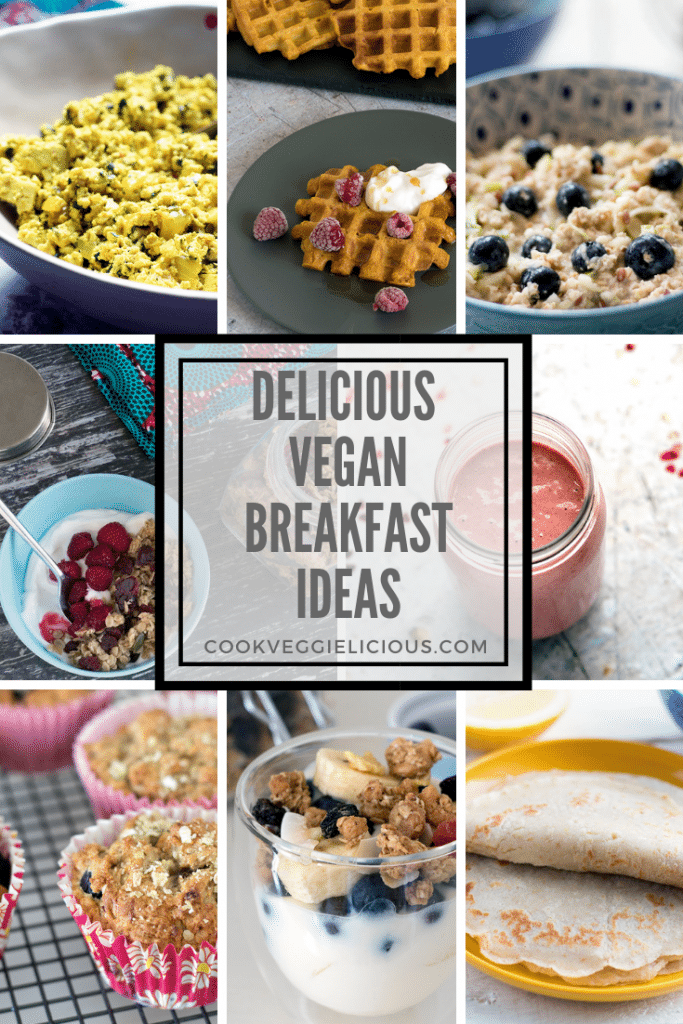 vegan breakfast ideas with photos of scrambled tofu, waffles, pancakes, oats, smoothie, muffins and parfait