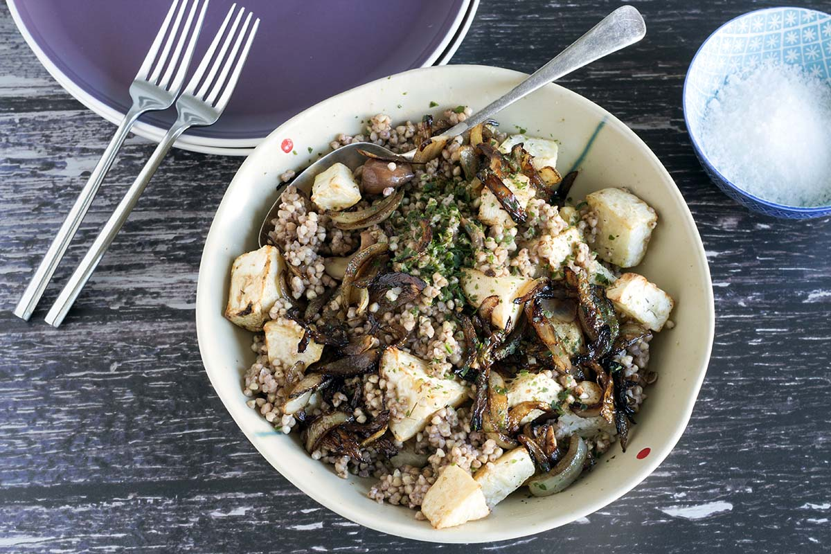 chestnut and celeriac buckwheat salad by Cook Veggielicious