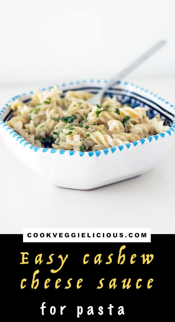 Easy recipe for vegan macaroni cheese made with cashew nuts. By Cook Veggielicious