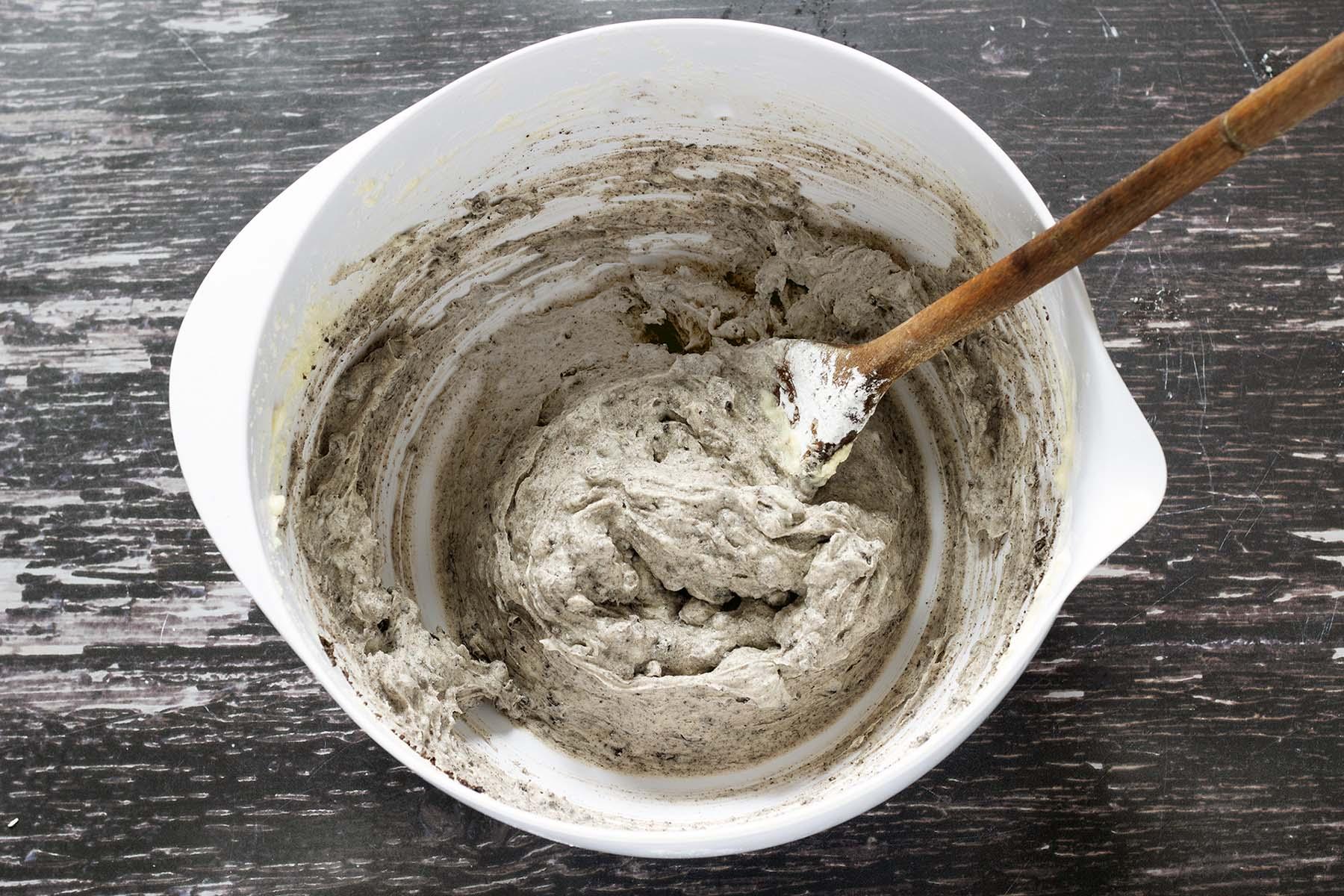 vegan oreo frosting in white mixing bowl
