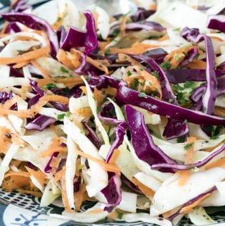 Vegan slaw with cabbage and carrot by Cook Veggielicious