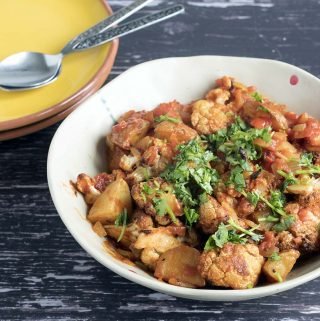 vegan aloo gobi - potato and cauliflower curry by Cook Veggielicious