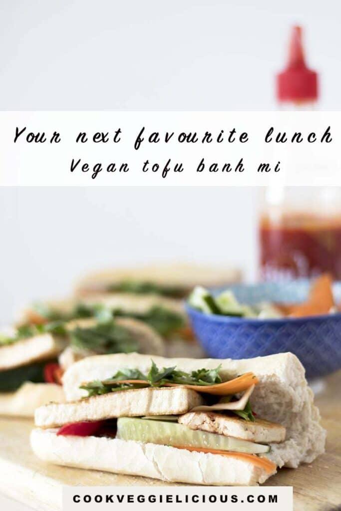 Vegan tofu banh mi on wooden board