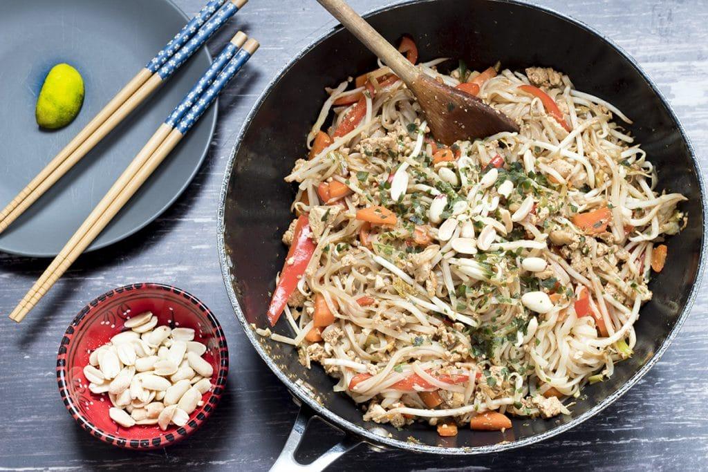 vegan pad thai in wok with peanuts - recipe by Cook Veggielicious