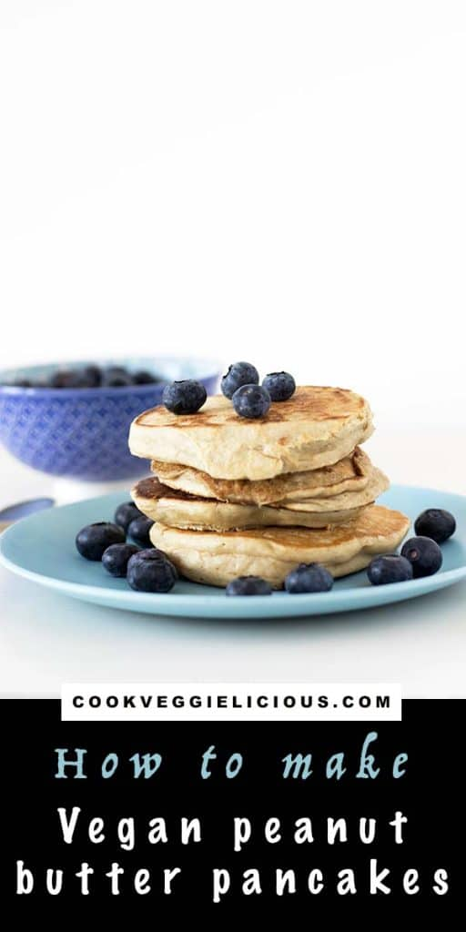 Peanut butter pancakes (vegan) with blueberries